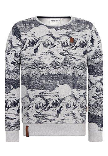 Naketano Male Sweatshirt Nasenbär Sucht Dreier II Grey Melange, L (Sucht Für Männer)