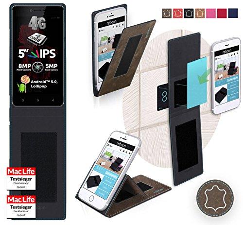 reboon Hülle für Allview X2 Soul Lite Tasche Cover Case Bumper | Braun Wildleder | Testsieger