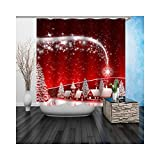 AieniD Badezimmerdekoration Grün Heilig Abend Rot Badezimmer Vorhang Size:150X180CM