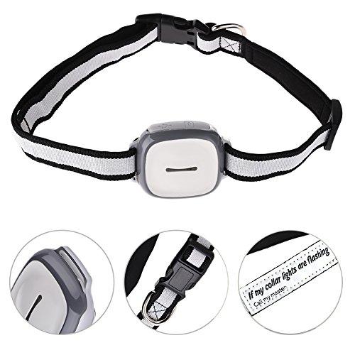 GPS, rastreador de mascotas con luz LED ajustable collar impermeable remoto teléfono...