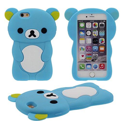 Schutzhülle für Apple iPhone 7 4.7 inch Hülle Case, 3D Schön Bär Gestalten Serie Slikon Gel [ Glatte Oberfläche ] Super Weich Elastisch Cartoon Tier Stil Verschiedene Farben blau
