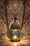 Petite Lanterne marocaine en métal or Ziva 30cm doré | Photophore marocain pour l'extérieur au jardin ou l'intérieur sur la table | Lanternes pour bougie | décoration de maison orientale