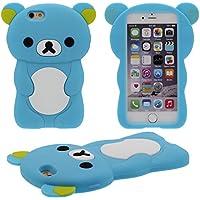 Schutzhülle für Apple iPhone 7 4.7 inch Hülle Case ( Blau ), 3D Schön Bär Gestalten Serie Slikon Gel [ Glatte Oberfläche ] Super Weich Elastisch Cartoon Tier Stil Verschiedene Farben