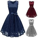 Damen Vintage Prinzessin Blumen Spitzekleid,TWIFER Cocktail V-Ausschnitt Party A-line Swing Kleid Abendkleider Hochzeitskleid (S, Marine)