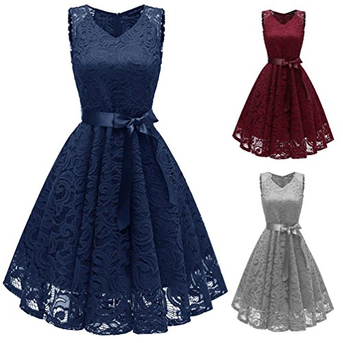 Damen Vintage Prinzessin Blumen Spitzekleid,TWIFER Cocktail V-Ausschnitt Party A-Line Swing Kleid...