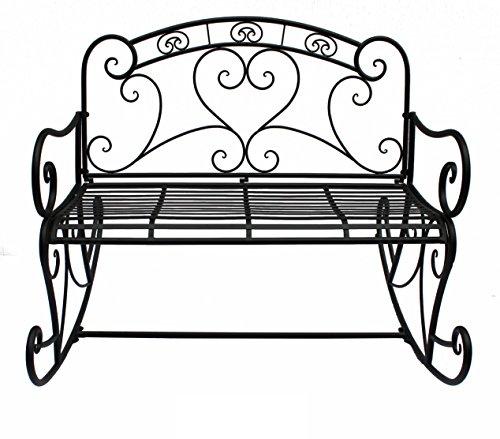 VARILANDO Schaukelbank aus Metall im antik-Look Gartenbank Metallbank 2-Sitzer Schaukel