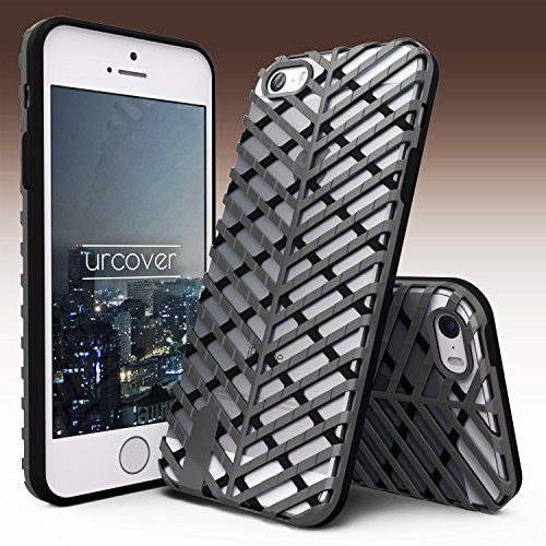 Urcover® Apple iPhone 5 / 5s / SE Schutzhülle Sword Series Back-Case Cover Gitter Schale Smartphone Schwarz / Silber Schwarz / Schwarz