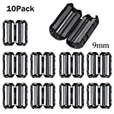 10PCS EMI RFI Noise Filter Clip/ Noise Suppressor Cable Clip for 5mm/ 7mm/ 9mm/ 13mm Inner Diameter USB / Audio / Video Cable Power Cord (9mm)