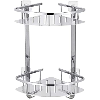 Foccoe Bathroom Corner Shower Shelf Shelves, Corner Basket Two-Tier ...