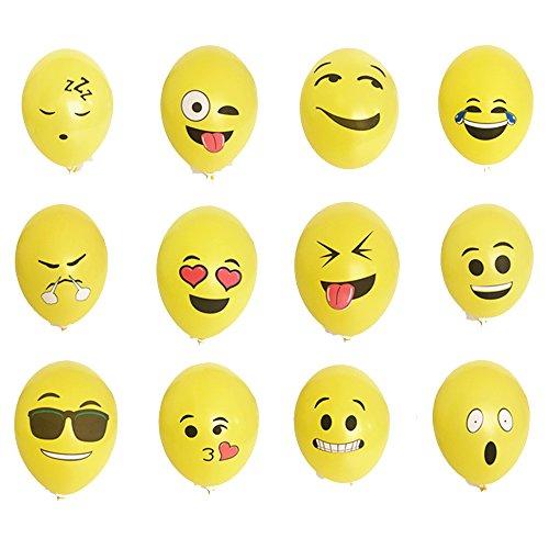 Yizhet 100 pezzi diversi palloni Emoji palloncini palloncini mia decorazione vena di festa di Natale di compleanno di cerimonia nuziale Cerimonia Meeting ecc (tipo di espressione non può essere selezionata)