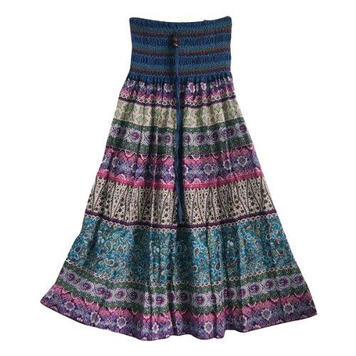 Aubig Frauen Bohemian mehrfarbig gestreifte lange Röcke Kleider (Rock Tie-dye-langer)
