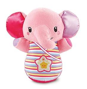 VTech- Trompito, Elefante de Peluche para bebé, Musical, luz de Noche, con más de 45 Voces, Canciones y melodías, Color Rosa (3480-508657)