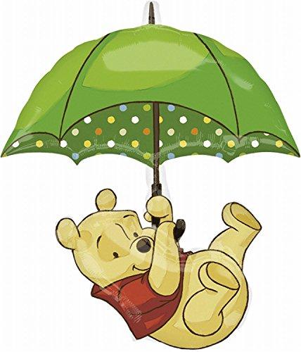 rty und Dekoration - Folienballon SuperShape - Disney WinniePooh mit Regenschirm, circa 76 x 89 cm ()