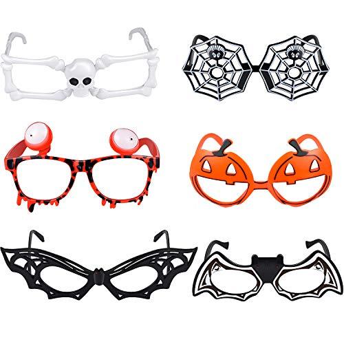 6 Stücke Halloween Brillen Neuheit Lustige Brille Kürbis Fledermaus Spinnennetz Skelett Form Brillen für Halloween Kostüm Party Dekorationen, 6 Stile