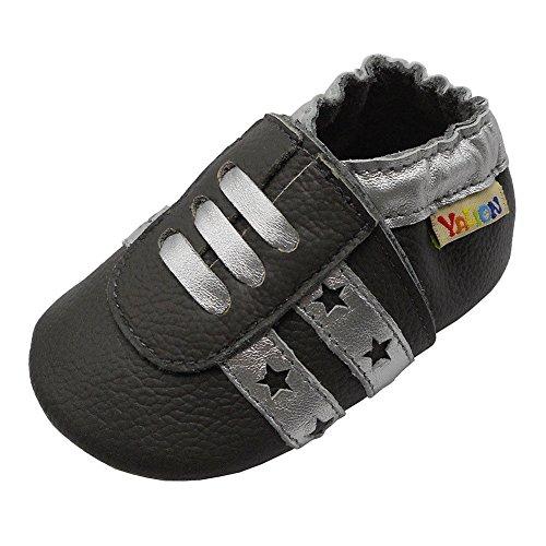 Yalion Junge Mädchen Kleinkind Turnschuhe Weicher Leder Lauflernschuhe Krabbelschuhe Babyhausschuhe Dunkelgrau 0-6 Monate