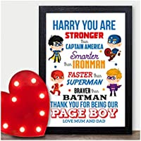 PERSONALISED Superhero Page Boy Best Man Usher Gift - Super Hero Page Boy Thankyou Gifts - Thank You Presents for Page Boy Wedding Party Favours - A5 A4 Framed Prints or 18mm Wooden Blocks