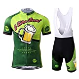 Thriller Rider Sports® Hombre I Like Beer Deportes y Aire Libre Maillot Manga Corta de Ciclismo y Pantalones Cortos Babero Traje Large