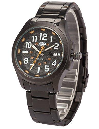SHARK ARMY Herren Milit?r Quarzuhr Analog Edelstahl Armband Sport SAW126