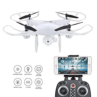 Kingtoys X25WF WIFI FPV Drone RC Quadcopter with 200W HD Camera and 10mins Flying Time 2.4GHz 4CH 6-Axis Gyro Quadcopter with Altitude Hold, Gravity Sensor and Headless Mode RTF Helicopter