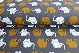 Qualitativ hochwertiger Jersey Stoff mit Elefanten in Senf/Grau als Meterware zum Nähen von Baby, Kinderkleidung, 50 cm