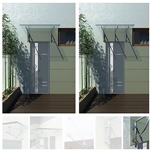 250x90cm Glasvordach Vordach Pavillion Türvordach Haustürvordach VSG-Glas inkl. Edelstahlhalterunen (Typ - B Halterung, inkl. 3x Edelstahlhalterung)