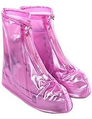 West ciclismo zapatos cubre–reutilizable impermeable lluvia botas de nieve antideslizante con cremallera PVC regla suela zapatos suelas para hombres mujeres (blanco, azul, marrón, rosa), hombre Infantil mujer, rosa, large