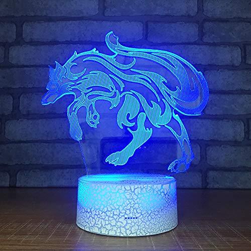 3D Illusione Ottica Led Lampada di Illuminazione Luce Notturna 7 Colori con Acrilico USB Batteria Notturna Touch Control Crack Base Wolf King Controllo Remoto