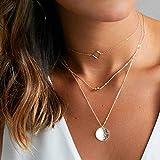 Jovono - Collar de varias capas con lentejuelas de aleación para mujeres y niñas