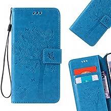 LEMORRY Samsung Galaxy Note 4 Funda Estuches Pluma Repujado Cuero Flip Billetera Bolsa Piel Slim Bumper Protector Magnética Cierre Standing Card Slot TPU Silicona Carcasa Tapa para Galaxy Note 4 (N910F), Árbol suerte Azul