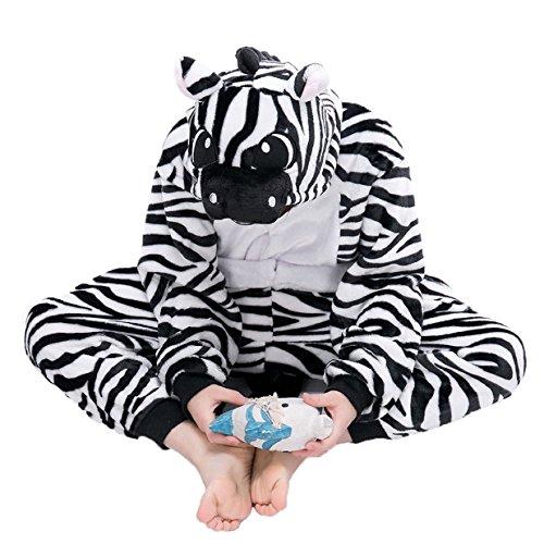 Imagen de tuopuda kigurumi pijama animal entero unisex para niños con capucha ropa de dormir traje de disfraz para festival de carnaval halloween navidad s = 90  100 cm height, cebra  alternativa