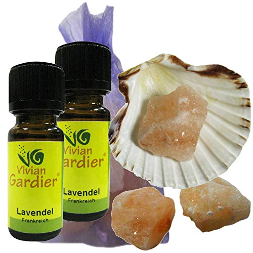 LAVENDEL fein Öl 2 x 10ml ECHTER LAVENDEL ätherisch + NATURREIN von VIVIAN GARDIER, kontrollierter Anbau #50008 | 7-teilig Aromatherapie Duft-Set mit Muschel, 3 x Sole-Kristalle, Duftsäckchen. -