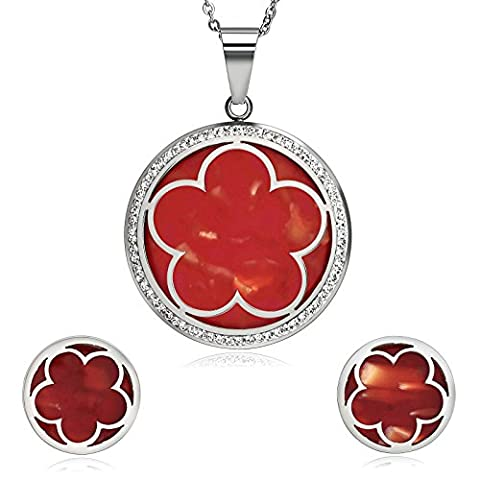 AnazoZ Stainless Steel Flower Petals Cubic Zirconia Silver Red Womens Earring Necklace Jewelry Sets