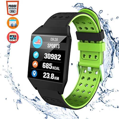 CatShin Pulsera Actividad Inteligent Android/IOS-CS04 Pulsera Deportiva Mujer Hombre Niños Impermeable IP68 Con Pulsómetro Monitor de Ritmo Cardíaco Podómetro Fitness Tracker Para Hombre Mujer (verde)