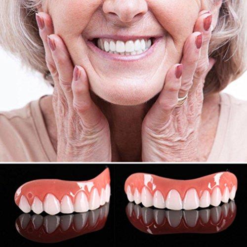 Bleichschienen (HKFV Instant Smile Comfort Fit Zähne Top Cosmetic Veneer Einheitsgröße Silikon-Simulation auf der Prothesenabdeckung Instant Smile Comfort Fit Teeth Top Cosmetic Veneer)