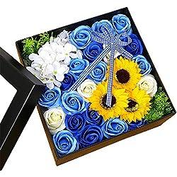 Huangwanru Ramos de Rosas de Jabón Regalo Jabón Flor Rosa Flores Novia Aniversario Cumpleaños Día de la Madre de San Valentín para la Fiesta de Bodas en casa (Color : Blue Square Box)