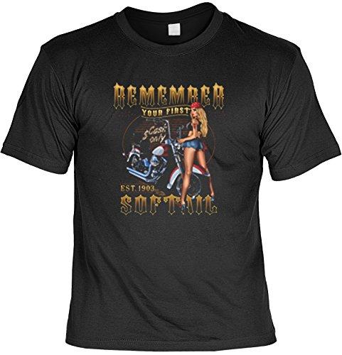 Biker T-Shirt Motiv Remember Softail Bike Shirt für Biker Rock T-Shirts für Herren Männershirt Laiberl Leiberl Hemad Schwarz