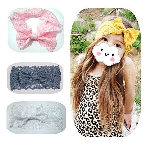 EQLEF® 4 Stück Elastic Lace Bowknot Stirnbänder Elegante Haar Hoops für Baby (Kostüme Niedliche Für Jährige Zwei)