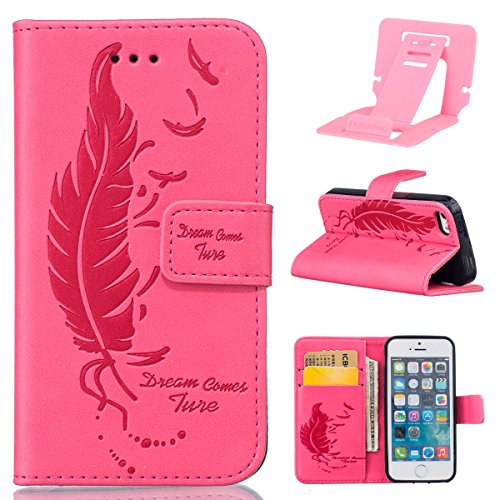 Couqe Etui pour iphone SE,iphone 5s Coque Rabat,iphone 5 Portable Housse,Ekakashop Élégant Style Bookstyle Folio Pliable Aimant Stand Fermeture Magnetique Portefeuille Wallet Shell de Protection Silic Feuille de Plume Rose Rough