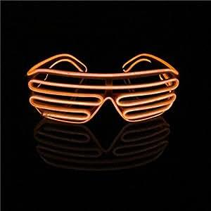 Lerway Luce El neon Filo LED Fino dell'otturatore Moda divertente Occhiali + controllo vocale per Natale Costumi Bar Compleanno Festa (arancione)