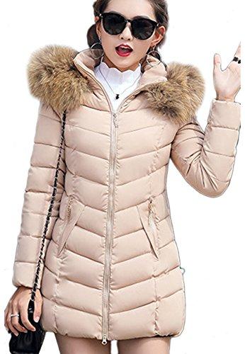 OMZIN Winter Frauen Dünne Dicke Warme Dame Fell Kapuze Unten Mäntel Jacken Beige XS (Für Fell-kapuze Unten Mäntel Frauen,)