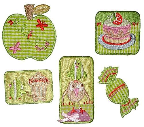 Preisvergleich Produktbild 5 tlg. Set Süßigkeiten Bügelbild Aufnäher Applikation - Muffin Bonbon Torte Kuchen Apfel Küche Marmelade