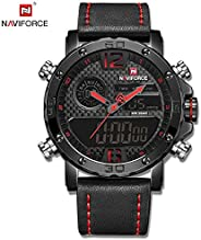 Naviforce Men's Black Dial Genuine Leather Analogue Classic Watch - NF9134