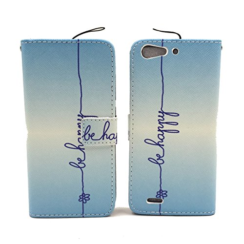 König-Shop Schutz Hülle Wallet Rahmen Bumper Handy Tasche Case Cover Leder-Imitat Bookstyle, Motiv:BÄR DONT TOUCH MY PHONE, Für Handy:Apple iPhone 6 / 6s Plus (5.5 Zoll) BE HAPPY BLAU