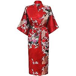 HonourSport-Kimono Japonais en Satin Sexy Robe de Chambre Peignoir-Femme (Rouge,L)