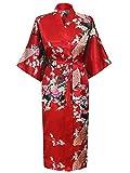 HonourSport-Kimono Japonais en Satin Sexy Robe de Chambre Peignoir-Femme (Rouge,XL)