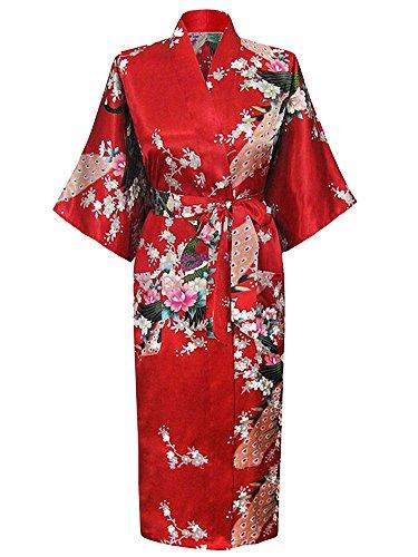 HonourSport-Kimono Japonais en Satin Sexy Robe de Chambre Peignoir-Femme (Rouge,XXXL)