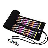 Amoyie - Tela wrap con perline, cassa del supporto di matita viag portamatite arrorolabile per 36 matite colorate, Borse nero
