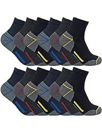 3, 6, 12 paires homme chaussettes courtes basses respirantes travail avec renforcées pour chaussures sécurité