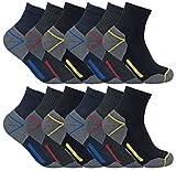 Sock Snob 3, 6, 12 paires homme chaussettes courtes basses respirantes travail avec renforcées pour chaussures sécurité (39-45 eur, 12 pairs (short))