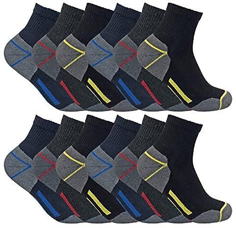 3, 6, 12 paires homme chaussettes courtes basses respirantes travail avec renforcées pour chaussures sécurité (39-45 eur, 12 pairs (short))